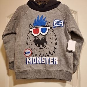 Little Rebels Grey Pull Over Hooded Sweater 4T